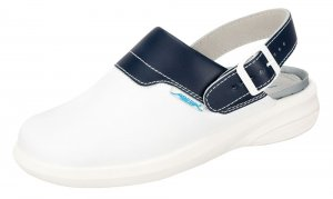 Abeba Easy Leather Clog White/Navy 7622