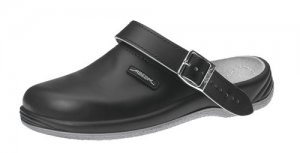 Abeba Black Leather Clog with Heelstrap 8210