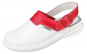 Abeba Easy Leather Clog White/Red 7623