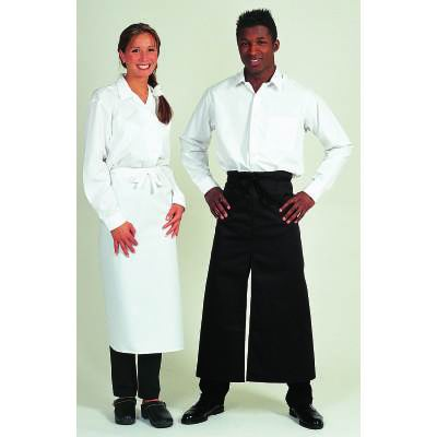 Centre-Split Full Length Apron Black
